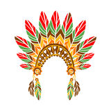 Chief War Bonnet With Feathers , Native Indian Culture Inspired Boho Ethnic Style Print Stock Photography