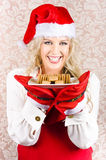 Chief Woman Wearing Xmas Hat Holding Biscuit Plate Royalty Free Stock Photo