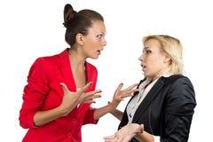 Chief woman yelling at a subordinate. Chief women yelling at a subordinate on the white background Royalty Free Stock Image