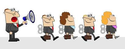 The chief yells in speaker and business people with briefcases a Royalty Free Stock Photo