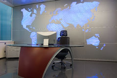 Chiefs cabinet 2. Chiefs cabinet with world map behind Stock Photo