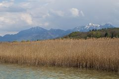 The bavarian lake Chiemsee and the Alps Stock Photos