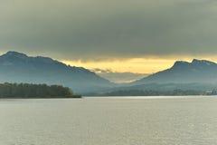 Chiemsee lake in Bavaria land at morning fall Royalty Free Stock Photo
