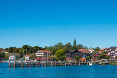 Chiemsee. Landing stage at the Chiemsee. The Chiemsee also called the 'Bavarian Sea', is the largest lake in Bavaria, Germany Royalty Free Stock Photos