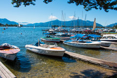 Chiemsee. Rowing boats at the Chiemsee. The Chiemsee also called the Bavarian Sea, is the largest lake in Bavaria Stock Image