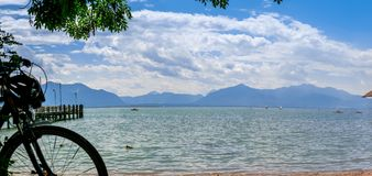 Chiemsee summer Alps view. Lake Chiemsee Alps view on a day in summer, Bavaria in Germany Stock Photography