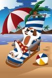 Chien à la plage Image stock