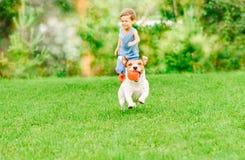 Chien avec la boule dans des courses de bouche de l'enfant jouant le jeu de chasse à la pelouse d'été image libre de droits