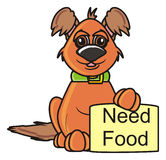 Chien avec la nourriture du besoin de signe illustration stock