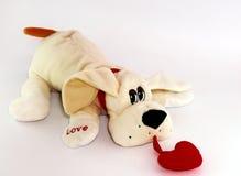 Chien beige de lapin avec le coeur rouge d'isolement Photo stock