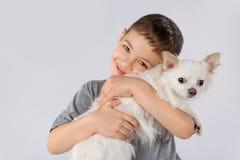 Chien blanc de chiwawa de petit garçon d'isolement sur le fond blanc Amitié d'animal familier d'enfants Image libre de droits