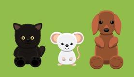 Chien Cat Mouse Pet Doll Cartoon Images libres de droits