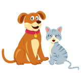 Chien Cat Sitting Together Image stock