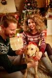 Chien comme cadeau de Noël Photos stock