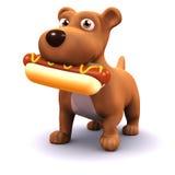 chien 3d avec le hot-dog Images stock
