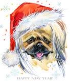 Chien dans l'illustration d'aquarelle de chapeau de Santa Carte de voeux de bonne année Conception de calibre de tee-shirt de Noë Photo stock