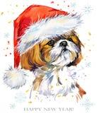 Chien dans l'illustration d'aquarelle de chapeau de Santa Carte de voeux de bonne année Conception de calibre de tee-shirt de Noë Photos libres de droits