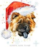 Chien dans l'illustration d'aquarelle de chapeau de Santa Carte de voeux de bonne année Conception de calibre de tee-shirt de Noë Photographie stock