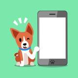 Chien de basenji de personnage de dessin animé et grand smartphone Illustration de Vecteur