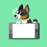 Chien de basenji de personnage de dessin animé et grand smartphone Illustration Stock