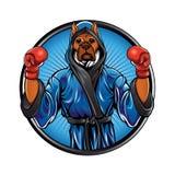 Chien de boxeur avec les gants et la robe longue Image stock
