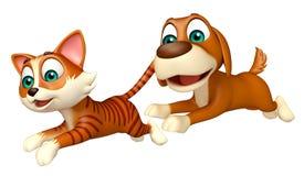 Chien de chasse de chat Images stock