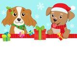 Chien de deux bandes dessinées avec Santa Hat And Space For votre bannière de vecteur des textes de Noël Fond d'hiver de vacances Photographie stock