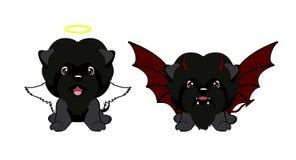 Chien de diable avec des klaxons et des ailes de batte et ange heureux de chien Illustration Stock