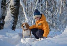 Chien de garçon et de briquet dans la forêt neigeuse d'hiver Image libre de droits
