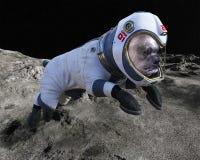 Chien de l'espace, promenade de lune, astronaute, surface lunaire photo libre de droits