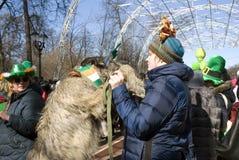 Chien de chien-loup irlandais et son propriétaire à la célébration de jour du ` s de St Patrick à Moscou Image stock