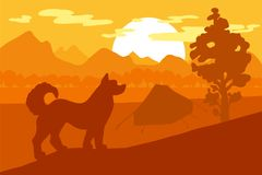 Chien de marche en Forest Mountain Camp Illustration de Vecteur