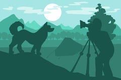 Chien de marche en Forest Mountain Camp illustration stock