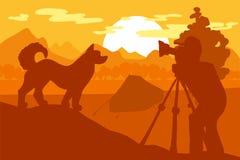Chien de marche en Forest Mountain Camp sur le photoshoot illustration de vecteur