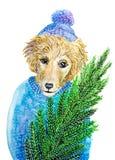 Chien de Noël peint par aquarelle Photo stock