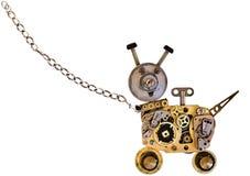 Chien de robot en métal sur une chaîne en métal photo stock