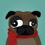 Chien de roquet et une écharpe en hiver Image stock