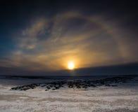Chien de Sun au coucher du soleil images libres de droits