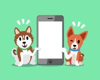 Chien de chien de traîneau sibérien de personnage de dessin animé et chien de basenji avec le smartphone Illustration de Vecteur
