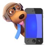 chien du pilote 3d derrière un smartphone Photos libres de droits