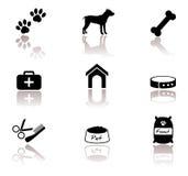 Chien, ensemble d'icône d'animal familier Images libres de droits