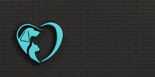 Chien et Cat Heart Logo Mur blanc, hublots noirs l'illustration 3d rendent Image libre de droits