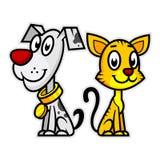 Chien et chat de sourire Image stock