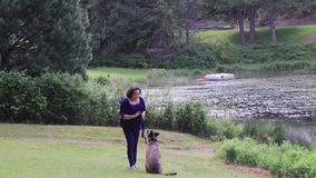 Chien et femme jouant sur le lac banque de vidéos