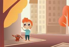 Chien et garçon de bande dessinée d'illustration de vecteur petit Chien de promenade d'enfant le long de rue de ville contre des  illustration libre de droits