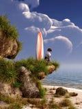 Chien et planche de surf illustration de vecteur