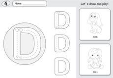 Chien et poupée de bande dessinée Fiche de travail de découverte d'alphabet : A-Z d'écriture Images stock