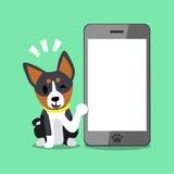 Chien et smartphone de basenji de personnage de dessin animé Illustration Libre de Droits
