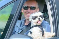 Chien et son propriétaire voyageant dans une voiture images stock