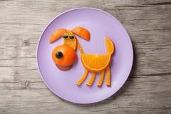 Chien fait en orange juteuse photo stock